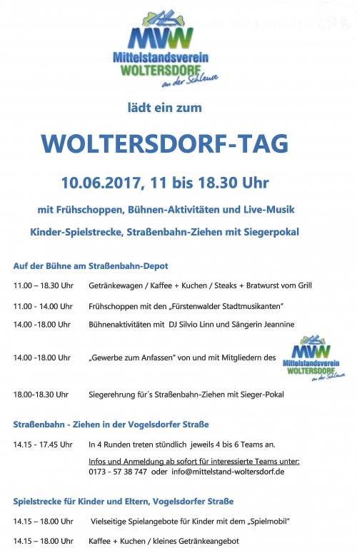 10.Juni 2017 – Woltersdorf-Tag – Einladung an alle Woltersdorfer