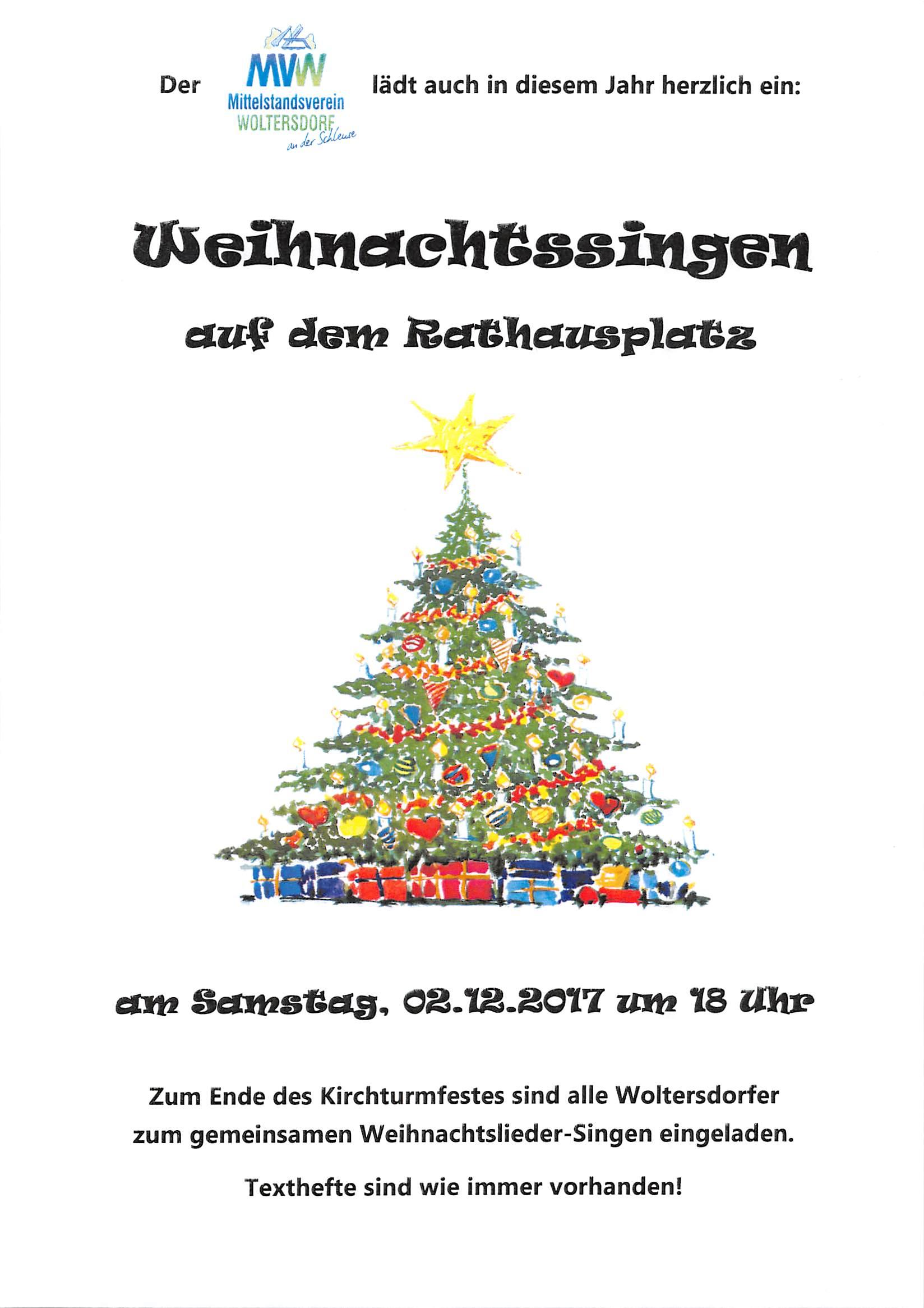 """02.12.2017 – Herzliche Einladung zum """"Weihnachtssingen auf dem Rathausplatz"""""""