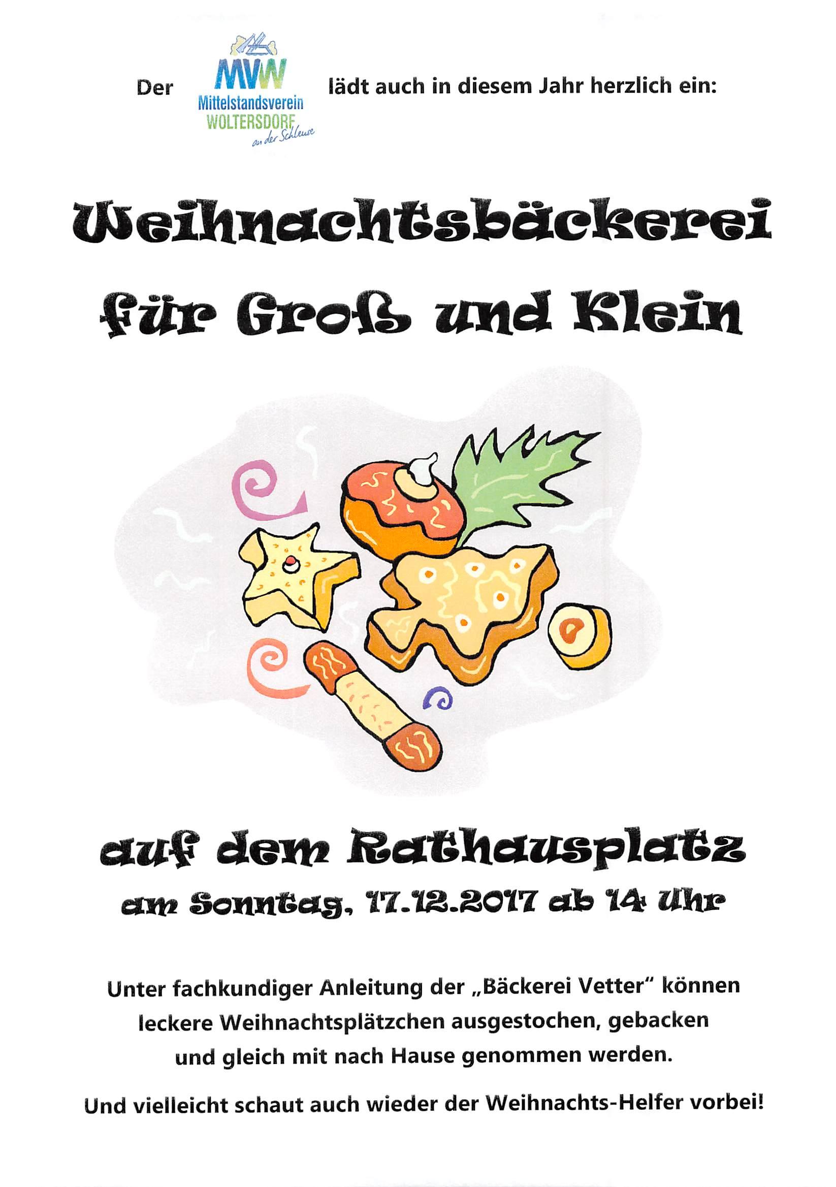 17.12.2017 – Weihnachtsbäckerei für Groß und Klein am 3. Advent